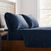 Stone & Beam Belgian Flax Linen Bed Sheet Set, Breathable and Durable, King, Aruba