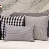 JOJUSIS Cotton Woven Striped Throw Pillow Covers Soft Solid Farmhouse Classic Decorative Cushion Pillowcases for Sofa Bedroom Car 20 x 20 Inch Black Pack of 2