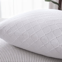 "PHF Cotton Matelasse Weave Euro Sham Pack of 2 White Textured Soft Cozy Cushion Pillow Covers 26"" x 26"" Home Bedding Sofa Couch Decoration No Filling"