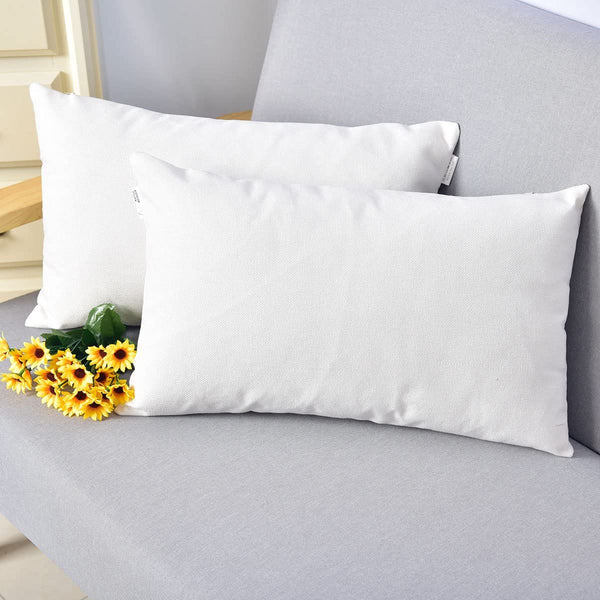 NATUS WEAVER Breathable Faux Linen Decor Oblong Throw Cushion Cover Pillow Sham for Living Room, 12 x 20 Inches,2 Packs, White