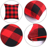 Aneco 4 Pack 18 x 18 Inch Pillow Covers Red and Black Plaid Cushion Classic Tartan Linen Pillow Case