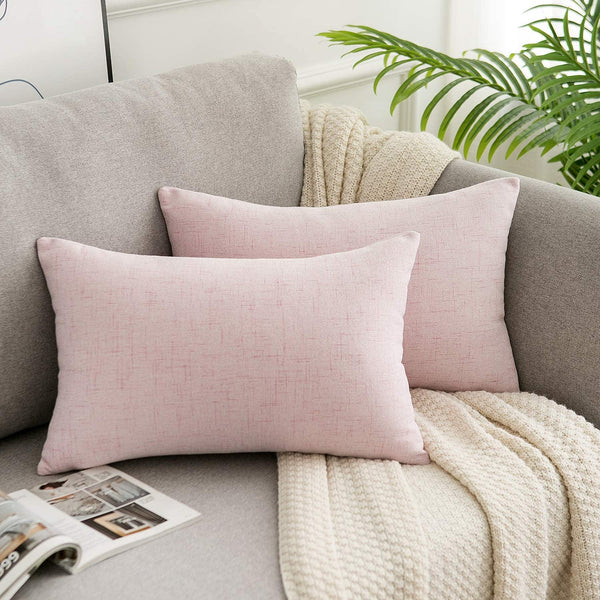 WLNUI Valentines Day Pink Pillow Covers Decorative Lumbar Oblong Throw Pillow Covers Cotton Linen Cushion Case for Sofa Couch Home Farmhouse Decor 12x20 Inches
