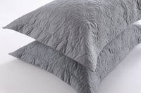 MarCielo 2-Piece Embroidered Pillow Shams, Decorative Microfiber Pillow Shams Set Standard Size Grey