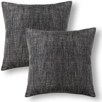 Jeanerlor Square Faux Lined Linen Decorative Striped Throw Pillow Case 24x24 inch Cushion Sham Set for Study House,2 Packs,(60 x 60 cm),Dark Grey