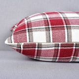 NATUS WEAVER 2 Pack Christmas Stripe Checker Decoration Linen Square Euro Throw Pillow Cover Sham Hand Made Cushion Case for Floor with Invisible Hidden, 18 inches Burgundy