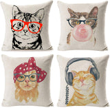 "Hidecor Throw Pillow Covers Cat Pillow Cases Animal Kitty Pillowcase Cotton Linen Cushion Cover for Couch Bed Sofa Patio Car,18"" x 18"",Set of 4"