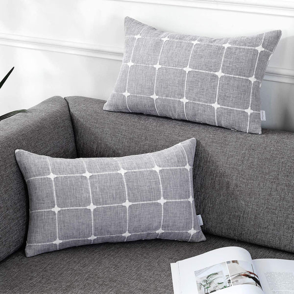 AmHoo Pack of 2 Farmhouse Plaid Decorative Throw Pillow Covers Modern Jacquard Pillowcases Faux Linen Cushion Covers Set for Sofa Couch Bedroom,12×20inch,Drak Gray