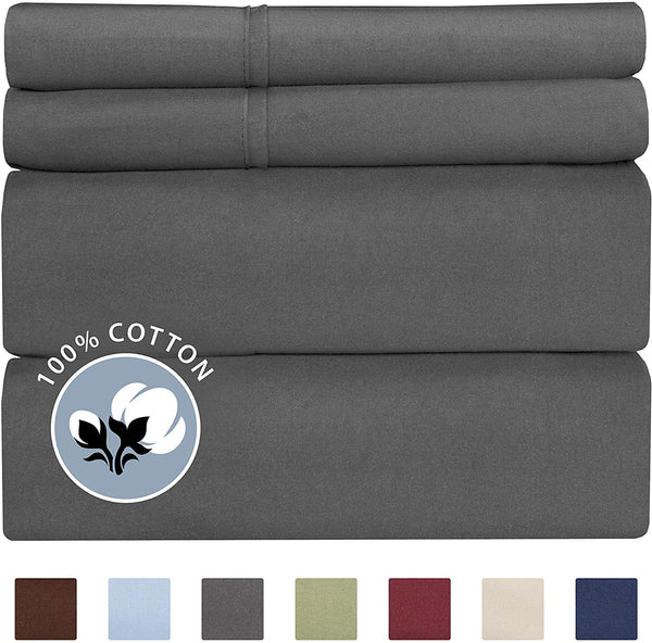 100% Cotton King Sheets Dark Grey (4pc) Silky Smooth, Cooling 400 Thread Count Long Staple Combed Cotton King Sheet Set – 400TC High Thread Count King Sheets - King Bed Sheets All Cotton 100% Cotton