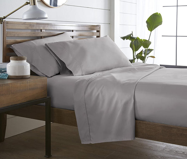 Westbrooke Linens 400 Thread Count 100% Long-Staple Cotton Pleated Hem Sheet Set, Solid Sateen Weave, Wrinkle Free, Elastic Deep Pocket, Hotel Collection, Luxury Bedding Sheet Set (Queen, Grey Silver)
