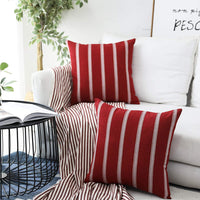 Home Brilliant Decorations Embroidered Striped European Euro Pillow Case Sham Covers for Bench Garden Girl's Room, 2 Pack, 24x24 inches(60cm), Red