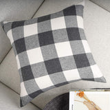 YOUR SMILE Retro Farmhouse Buffalo Tartan Chequer Plaid Cotton Linen Decorative Throw Pillow Case Cushion Cover Pillowcase for Sofa,Set of 2 (Grey, 20''x20'')