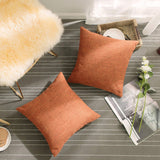 "Home Brilliant Textured Euro Sham Pillowcase for Bed Floor Linen Chenille Blend Pillow Covers Large Cushion Cover for Holiday, 26""x26"", Pumpkin"