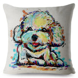 Cartoon Colorful Watercolor Pet Dog Print Throw Pillow Cover 45*45cm Cushion Covers Linen Pillow Case Home Decor Pillows Cases