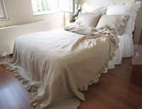 Linen Flat Sheet with double ruffles Pre Washed Super Soft Linen Flat Bed Sheet Twin Full Twin  Queen King Available Custom Size