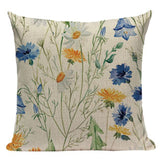 Printed Cotton Linen Cushion Cover Car Sofa Decorative Vintage Style Color Flowers Pattern Pillow case Throw Pillow Cover Custom