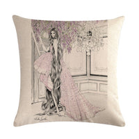 Decorative Throw Pillows Case Vogue Girls Beauty Fashion Cushion Cover for Sofa Home Almofadas 45x45cm Pillowcase Gifts ZY1300
