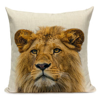 Animal Series Cushion Cover Home Decor Tiger Elephant Monkey Throw Pillows Covers  Linen Pillowcase for Sofa Decoration