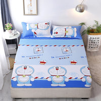 Home Textile Cartoon Doraemon Fitted Sheet with Elastic Rubber Band 180*200cm,200*220cm Size Bed Sheets Mattress Cover Bed Linen