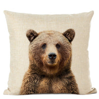 Animal Series Cushion Cover Tiger Brown Bear Lion Decorative Pillows Cover Linen Pillowcase for Cojines Decorativos Para Sofa
