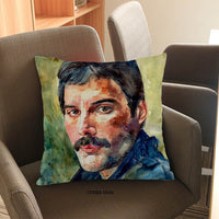 Watercolor Oil Painting Style Famous Queen Frontman Freddie Mercury Portrait Throw PillowCase Home Sofa Decorative Cushion Cover