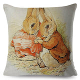 Peter Rabbit Cushion Cover Cute Cartoon Pillow Case 45*45 Thick Pillow Covers Print Decor Animal Pillows Cotton Linen Pillowcase