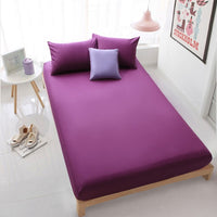 100% Cotton Fitted Sheet With Elastic Band Solid Color Bed Sheets Linen Bedspread Mattress Cover Protector Full Queen size