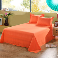 1PCS Solid Colour Double Ded Flat Fitted Sheet Colourful PolyesterBedding Set Brief Bed Linens Flat Sheet Twin King Size 9