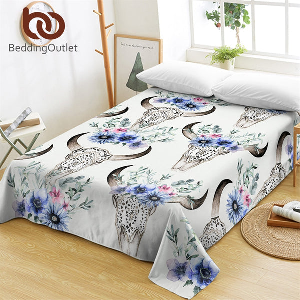 BeddingOutlet Bull Head Skull Bed Sheets Watercolor Floral Flat Sheet Flowers Tribal Bed Linen Adults Boho Blue Bedspreads