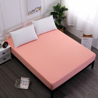 Solid Color Fitted Sheet Mattress Cover Bed Linen With Elastic Band 100%Polyester Mattress Protector Pad King Size Bedding Set