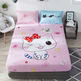 Liv-Esthete Cartoon Elephant Fitted Sheet Pink Mattress Cover Bed Linen 100% Cotton Bed Sheet On Elastic Band For Adult Child