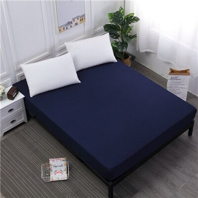 Fitted Sheet On Elastic Band Waterproof Mattress Cover Bed Sheet With Elastic Band Polyester Solid Color Double Queen Bed Linens