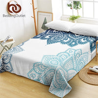 BeddingOutlet Mandala Flat Sheet Floral Bedspread Boho Blue Bed Linen Bohemian Flower Home Textiles sabanas cama Hot Sale 1pc