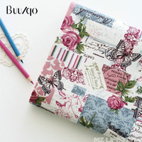 Buulqo Printed Flower & Butterfly cotton and Linen Fabric by meter Retro Vintage sewing crafts cotton fabric 100*155cm