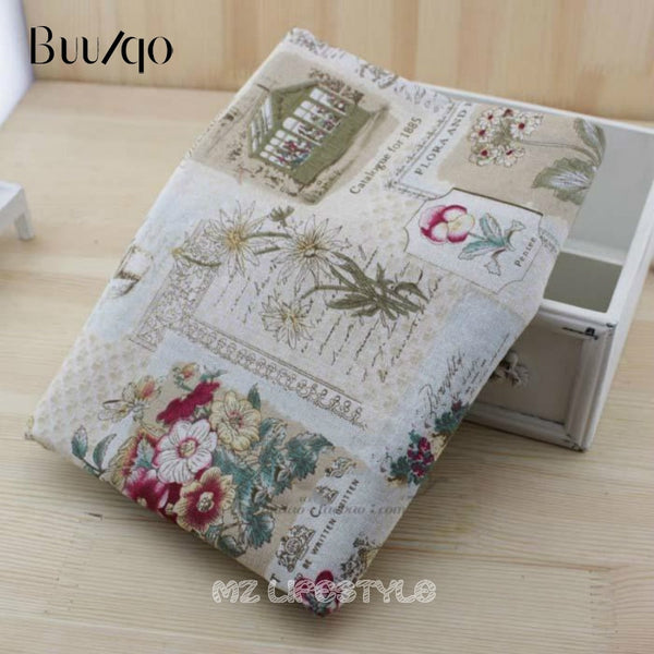 Vintage Linen Cotton fabric  printing Gerbera DIY Handmade Textile Sewing Patchwork For Bags Dress Clothes
