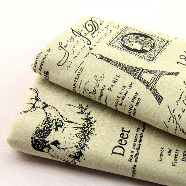 2019 Summer Style DIY Vintage Tower Paris Print Cotton Linen Hemp Patchwork Fabric Cloth Tower 145 width 50%OFF