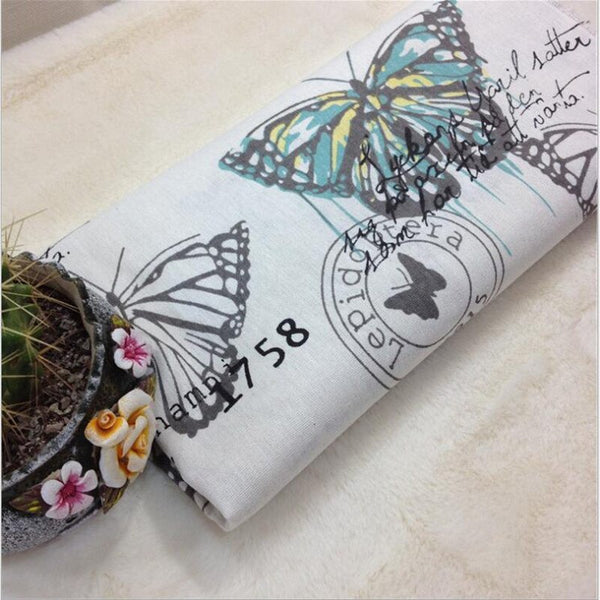 100 *150cm width Vintage Natural Cotton Linen Fabric Butterfly Printing Pattern cotton Quilting handmade fabric