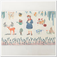 Vintage Brand 41x66cm Digital Girl & Deer Printed Cotton Linen Fabric
