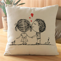 Sweet Couple Cushion Cover Home Decorative Pillows Case Square Cotton Linen Pillowcase Almohada for Seat Sofa Valentine Gift