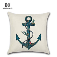 Nautical Map Sketch Sailboats 45*45cm Cushion Cover Linen Throw Pillow Car Home Decoration Decorative Pillowcase