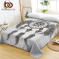 BeddingOutlet Sugar Skulls Bed Sheets Dreamcatcher With Wings Flat Sheet Retro Bed Linen Mandala Gothic Bedspreads Queen