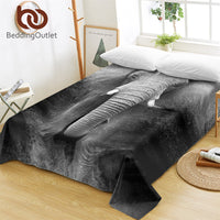 BeddingOutlet Elephant Bed Sheets 3D Printed Flat Sheet Photography Bed Linen Adults Black and White Bedspreads Queen