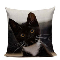New Linen Pillow Cover Black White Hand painting Yellow Cute Cat kitchen chair Cushion Cover Home Decorative Pillow Case