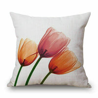 Watercolor Flower Home Cotton Linen Car Bed Sofa Pillow Case Square Cover 18inch