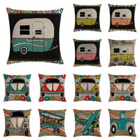 Soft Cartoon Car Cotton Linen Pillow Case Sofa 18'' Cushion Cover Home Decor