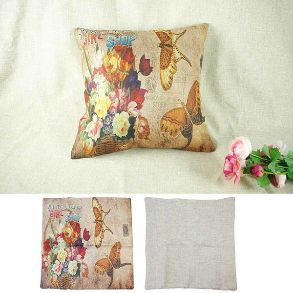 1 Pc Flower Butterfly Cushion Cover Cotton Linen Pillow Case Decor Pillowcase