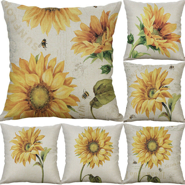 Sunflower Cotton Linen Sofa Waist Cushion Cover Pillow Case Home Decor