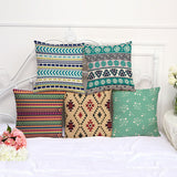 Retro Geometric Flower Cotton Linen Pillow Case Casual Cushion Cover Home Decor