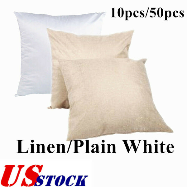 10/50pcs Linen/ Plain White Heat Transfer Sublimation Blank Pillow Case Fashion