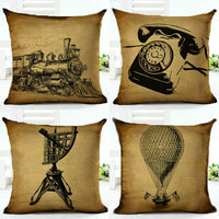 18'' Cotton Sofa Case Home Pillow Cover Pattern Cushion Throw Linen VINTAGE