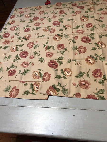 (2) King sized Waverly pillow cases in khaki with poppy flowers in rusty red